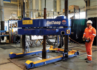 V-tech's UniTong is a combination iron roughneck and casing tong able to handle casing, completion and drilling operations. Its thread compensation system can be used for connection and disconnection of all kinds of tubulars.