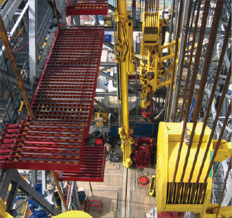 NOV's column rackers, like this one on Thunderhorse, help to make pipe-handling operations more efficient and improve safety around the well center and drill floor.