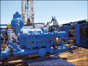 Two triplex mud pumps on the rig are each powered by a 1,150-hp AC motor.