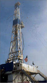 A Nomac drilling rig works for Chesapeake Energy in the Bethany Longstreet Field, Caddo Parish, La. 