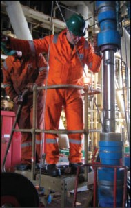 A crew deploys the BJ Services InjectSafe valve in the North Sea.