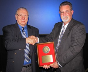 IADC president Dr. Lee Hunt (left) with Warren Weaver, Manager, Regulatory Compliance, Transocean (right).