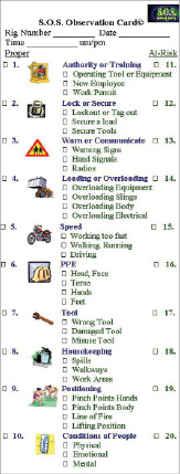 Safety Observation Card http://www.drillingcontractor.org/hse-system-uses-visual-icons-to-help-employees-identify-potential-hazards-correct-behaviors-3758
