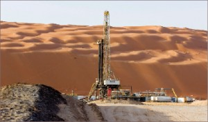 """In Saudi Arabia, where Nabors is active, the company employs Saudi nationals as rig managers who are """"well respected,"""" said Nabors International Management president Siggi Meissner. Above, the company's Rig 607 drills for Saudi Aramco."""