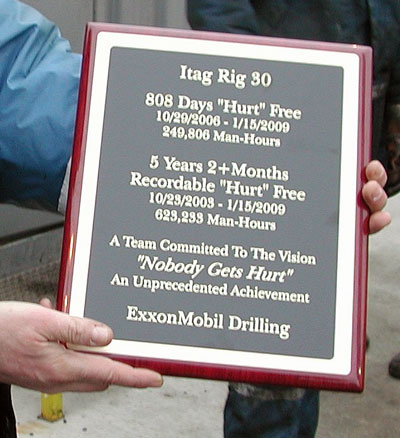 "ITAG Rig 30 received special recognition from ExxonMobil for remaining ""hurt free"" for 808 days."