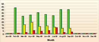 Figure 1: Monthly reports provide a breakdown of drivers by risk category – green for low risk, yellow for medium risk and red for high risk.