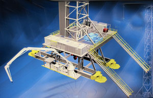 The Ultra uses hydraulic cylinders to rig up and rig down, a four-axis design which allows movement in eight directions and can move and setup in under 48 hours. 