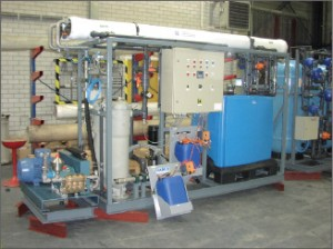 A reverse osmosis system such as this can desalinize sea water for human consumption onboard offshore rigs.