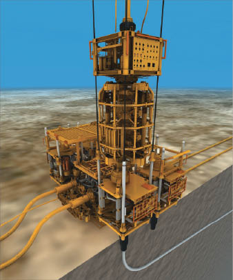With the TTRD system, developed by Statoil and FMC Technologies, a sidetrack can be drilled from an existing well without pulling the tubing. The TTRD system configuration allows drilling, testing and completion to be performed using only one system. The illustration above represents the TTRD systems deployment in Statoils sgard Field.