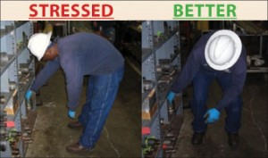 "The photos above show the ""stressed"" and ""better"" way of bending over to reach for an object. ""Using Safety In Motion techniques like 'Same Side Hand and Foot' recruits better muscles, provides best leverage and easier alignment,"" the company said."