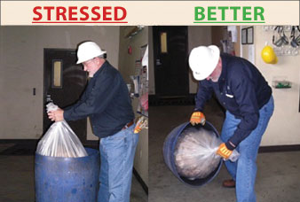 "These photos demonstrate the ""stressed"" way of pulling a trash bag out of a trash can (left) and the ""better"" way (right). The ""better"" way exhibits the methods of ""applying 'smart set-up,' which provides less strain and makes every day tasks easier,"" said Andy DuBose, Safety In Motion senior consultant."