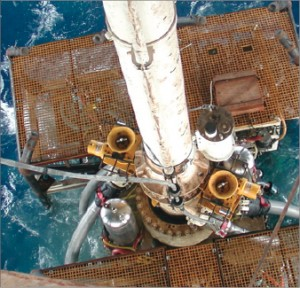 The photo above shows Chevron's inital trial well with dual-gradient technology. This is the running of the mud lift pump for the subsea mud lift drilling (dual-gradient). The picture below shows the mud lift pump in the moonpool area awaiting its first run. The BOP is in the foreground hanging off in the moonpool.