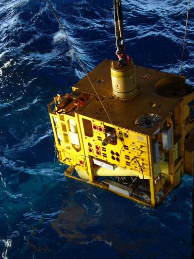 The EVDT being deployed for a record breaking water depth of 9,356 ft.