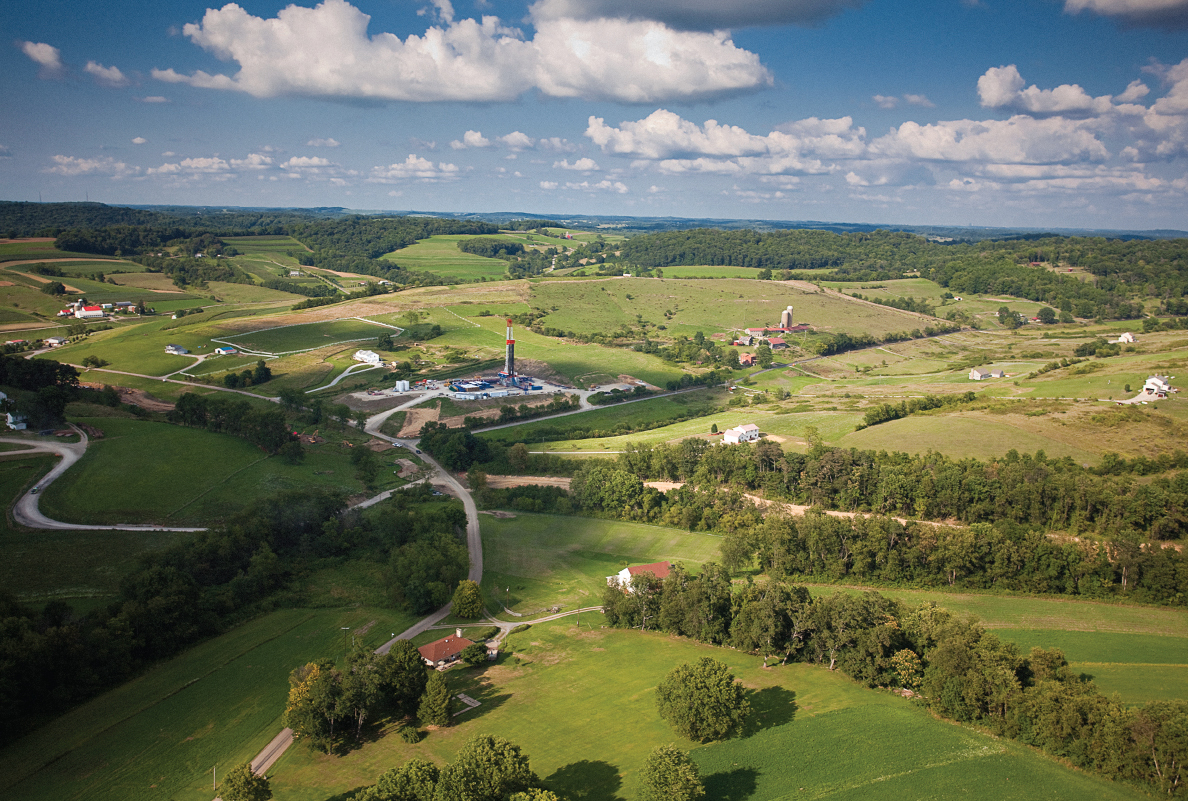 This aerial shot shows a Range Resources-operated rig in Washington County, southwestern Pennsylvania, in the hilly Marcellus Shale.