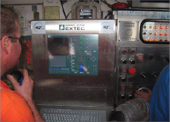 Figure 6: The RMR control panel in the driller's cabin facilitates  communication between the driller and RMR operator.