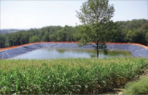 Range Resources deploys its water reuse technology at water  impoundment sites like the one shown above. The company was instrumental  in forming the Marcellus Shale Coalition, which worked with the  Pennsylvania Department of Environmental Protection to determine a set  of regulations for implementing the technology.