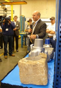 Allen Sinor, Baker Hughes vice president, drill bit systems, answers questions during a tour of the company's Woodlands manufacturing plant on 30 April. Baker Hughes will add 130 skilled positions to the facility.