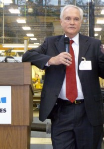 Baker Hughes chairman, president and CEO Chad Deaton discuss the company's expansion plans during a news conference on 30 April in The Woodlands, Texas.
