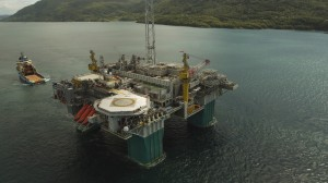 The semisubersible platform for Statoil's Gjøa field will be Statoil's first floating platform supplied by power from shore.