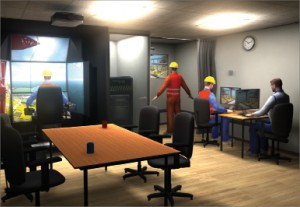 The multi-role interactive simulation is performed in a classroom setting with simulator stations for the operator, signalman (banksman), slinger and instructor. The team must work together to perform lift operations.