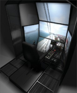 The crane cab station provides a realistic environment for the  crane operator, with actual crane controls and immersive visuals. The  crane cab pod is linked to the other crew members of the lifting  operation in a multi-role simulation.