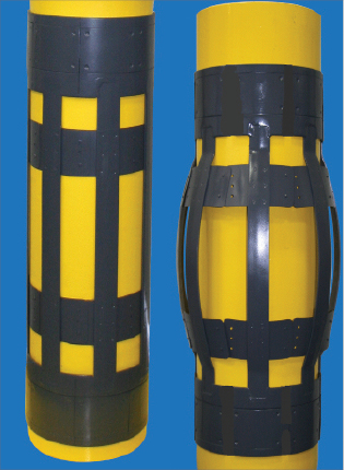 The close tolerance expandable cementing centralizer used in the Cepsa well can be seen pre-expansion on the left and post-expansion on the right.