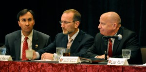 From left to right: Congressman Pete Olson, IADC 2010 chairman Louis Raspino, and Congressman Kevin Brady.