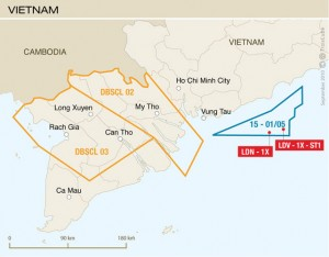 The Lac Da Vang exploration well was drilled 125 km east of the  coastal city of Vung Tau offshore Vietnam.