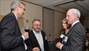 Cary Moomjian (center), Ensco, has been going to IADC's Annual General Meetings for more than 30 years. He believes the industry should encourage young and high-potential people to attend more events such as these. At left is 2009 IADC chairman Claus Hemmingsen, Maersk Drilling, and at right are 2011 IADC chairman Matt Ralls, Rowan, and his wife, Amy, at the 2010 IADC Annual General Meeting in San Antonio, Texas, late last year.