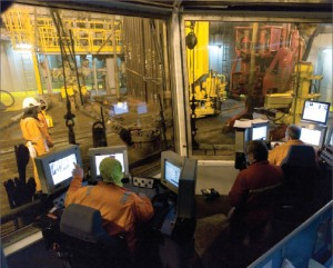 On the Maersk Inspirer, drillers have a full view of rig floor operations from the driller's cabin.