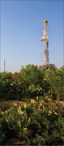 A Precision Drilling rig drilling for Anadarko Petroleum rises above the cactus in Southwest Texas Eagle Ford Shale, where Anadarko recently completed a joint venture agreement with Korea National Oil Company.