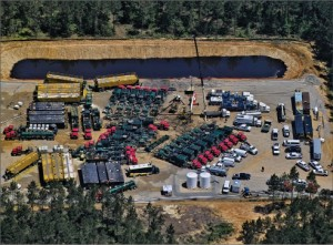 Frac Tech Services is mobilized to conduct a hydraulic fracturing job in the Haynesville Shale. Currently the average lateral length for wells in the Haynesville is 4,500 ft, with an average of 14 fracturing stages. Photo courtesy of Frac Tech Services