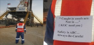 As part of an HSE initiative established at Kuwait Oil Company, crew members who are caught committing an unsafe act three times in a row are required to wear a jacket with a special slogan on the back as penalty for the violation. He must continue to wear the jacket until it is passed to another crew member who is caught committing an unsafe act. This new psychological approach to improving safety performance has proved effective for the company's rigs.