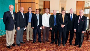 IADC president Dr Lee Hunt (second from right) hosted Cuban oil and gas sector representatives and experts at the 2011 IADC Environmental Conference in Trinidad: (from left) Jorge Pinon, Florida International University; Juan Fleites, Cubapetroleo; Dan Whittle, Cuba Environmental Defense Fund; Fidel Ilizastigui Perez, Cuba's Office for the Environment and Nuclear Safety Regulation; Humberto Rivero, ambassador of the Republic of Cuba in Trinidad and Tobago; Eredio Puente Gonzalez, Cubapetroleo; Ulises Fernandez Gomez, Cuba's Office for the Environment and Nuclear Safety Regulation; Dr Hunt; and Dr Manuel Marrero, Exclusive Economic Zone of Cuba Commission in the Gulf of Mexico.
