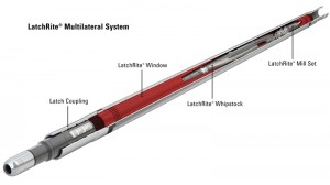 Figure 3: Halliburton's LatchRite multilateral system uses a casing joint with an aluminum-wrapped pre-milled window. This technology allows a single-pass casing exit with a defined geometry while producing only aluminum cuttings. The Latch Coupling provides an anchor for tools at a known depth and orientation and can be used to re-enter the lateral for the life of the well.