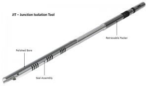 Figure 4: Providing temporary hydraulic isolation of a multilateral junction, the Halliburton Junction Isolation Tool creates a 12,500-psi rated conduit to direct high-pressure fracture treatment to the lateral leg. It can be used multiple times over the life of the well to allow workovers and further stimulation if required.