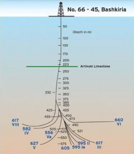 The first multilateral well drilled with horizontal sections was drilled in 1953 using only turbodrills without rotating drillstrings, cement bridges or whipstocks. It had nine branches.