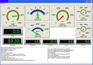 The data acquisition system used for testing included real-time data displays with test summaries and comments.