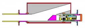This configuration of the horizontal test setup depicts the sealbore diverter remaining aligned with the casing exit window following release of the whipstock.