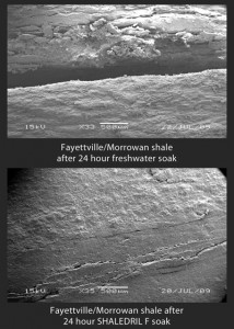 The method of inhibition is extremely important in the Fayetteville Shale play, according to Halliburton. When the shales in this area are exposed to water, they delaminate severely, causing the hole to cave in. An example of such delamination of the Fayetteville Morrowan shale after a 24-hr freshwater soak can be seen on top, and the same shale following a 24-hr soak in a custom WBM fluid formulation (bottom) achieved sealing of the shale microfractures.