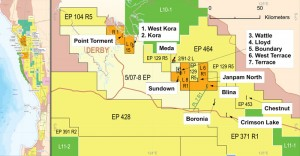 Warrego Energy maps show where shale is targeted for development in Western Australia. The company plans to start drilling these wells next year. The government is issuing permits for development of unconventional tight-gas and shale reserves intended to supply natural gas to the iron ore industry, a sign of the government's desire to move toward cleaner natural gas instead of coal and diesel.