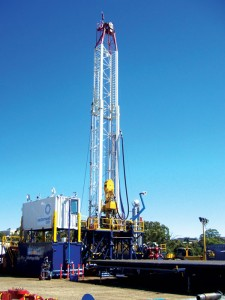 Easternwell's Rig 101 is seen in its final commissioning. The Advantage Drilling Rig features automated pipe handling and can quickly move for either pad drilling or short-distance rig moves. Easternwell has three drilling rigs and four well-servicing rigs contracted in the Surat Basin in Queensland, with an additional four or five well-servicing rigs expected to be deployed this year.