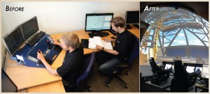 HIL testing has improved significantly in the couple of years since Marine Cybernetics first performed HIL test operations for Maersk Drilling in 2009 for three semis. On the left is an early setup, with a drilling operator on an NOV CyberMini operator station working with an HIL test operator and HIL simulator PC. On the right is the new setup, including the NOV CyberBase operator stations and the simulator dome. Source: Øyvind Smogeli (left); Tor Asle Garborg (right)
