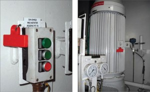 RFID technology is making it possible to keep track of the whereabouts and maintenance history of all equipment. RFIDs provide instant access via the Internet to a database of information about the individual equipment. Red RFID tags are attached to a mud agitator switch box (left) and a mud agitator (right).