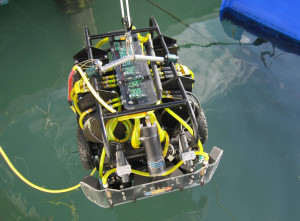 The HullBUG autonomous underwater vehicle is delivered for field testing in Florida.