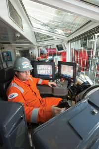 A driller works in his cabin on the ENSCO 8506. Ensco sends two-man teams offshore to audit its safety management system, making sure its permit-to-work system, energy isolation procedures and documentation are being followed.