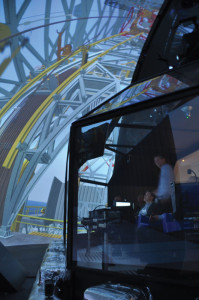 The quarter spherical view in the drilling simulator gives students an authentic and accurate view of what life is like in a real driller's cabin.