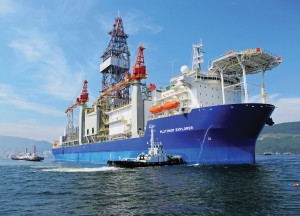 Vantage Drilling's drillship, the Platinum Explorer, is working under a five-year contract for India's ONGC. The ship is designed for water depths up to 12,000 ft.