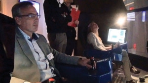 Maersk Drilling CEO Claus Hemmingsen tests the drilling simulator during a team-building exercise at the Maersk Offshore Simulation and Innovation Centre training complex in Svendborg, Denmark, in November 2012.