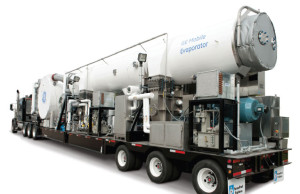 GE's mobile thermal evaporator uses heat to distill water and concentrate brine. It is mounted on a single trailer so it can reach remote drilling sites.